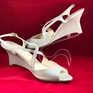 PRADA Peep Toe Wedge Gray Patent Leather